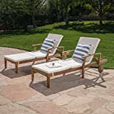 Cheap Great Deal Furniture Daisy Outdoor Teak Finish Chaise Lounge with Cream Water Resistant Cushion (Set of 2)