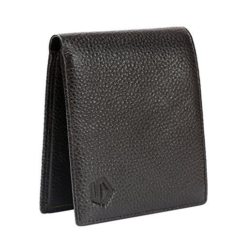 Five Black Rfid Blocking Cowhide Leather Bifold Wallets for Men (Slim Minimalist) (Brown)