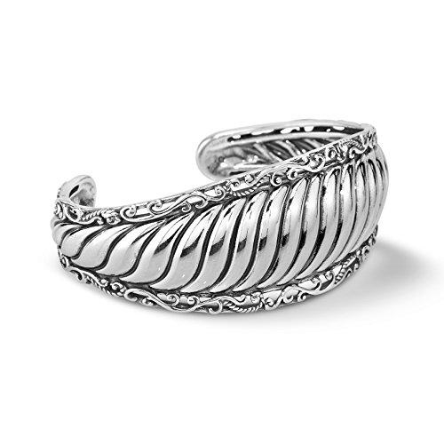 (Carolyn Pollack Sterling Silver Ribbed Cuff Bracelet Size Medium)