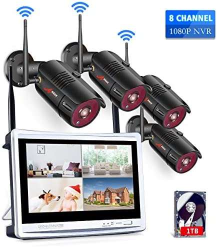 [All-in-One] 1080P Home Security Camera System Wireless with 12 Inch Monitor WiFi Surveillance NVR Kits,8 Channel WiFi Video Security System with 1TB HDD with 4Pcs 2.0MP IP Cameras,Free APP by ANRAN