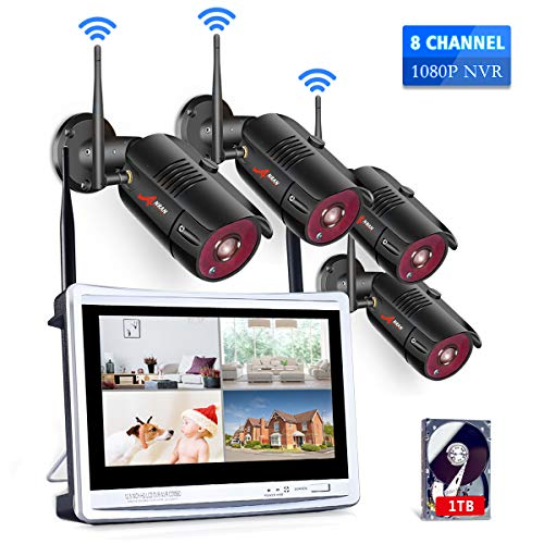 ([All-in-One] 1080P Home Security Camera System Wireless with 12 Inch Monitor WiFi Surveillance NVR Kits,8 Channel WiFi Video Security System with 1TB HDD with 4Pcs 2.0MP IP Cameras,Free APP by ANRAN)