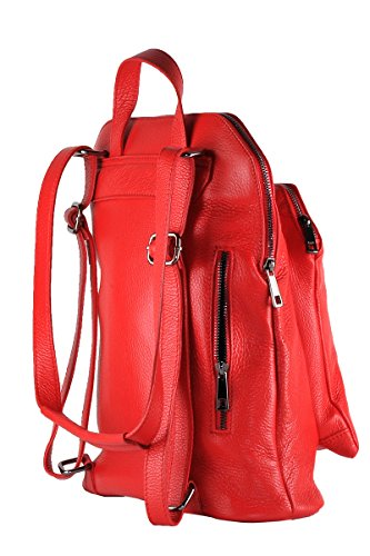 Borsa Borderline 100 Zaino Italy Pelle Vera Diamond Made Rosso In 71qI7