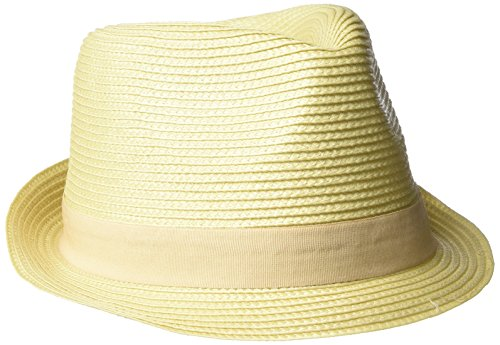 Henschel Men's Crushable Braided Strips Fedora with Solid Grosgrain Band, Natural, Medium