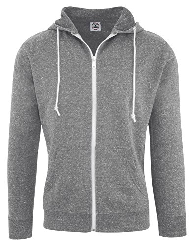 Grey Zip Hoodie (Delta Adult Men's Snow Heather French Terry Zip Hoodie Sweatshirt Graphite Medium)
