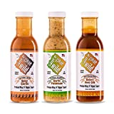 Sauce Gone Wild Wing Sauce - 3 pack - Spicy Garlic - Honey Hickory - Garlic Parmesan - Enjoy All 3 Flavor Options - Marinade for Grilling & Cooking - Made in USA - Tasty Restaurant Style Wings at Home