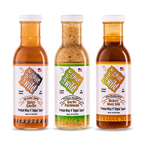 Sauce Gone Wild Wing Sauce - 3 pack - Spicy Garlic - Honey Hickory - Garlic Parmesan - Enjoy All 3 Flavor Options - Marinade for Grilling & Cooking - Made in USA - Tasty Restaurant Style Wings at (Spicy Chicken Wings)