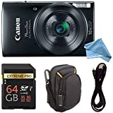 Canon PowerShot ELPH 190 Digital Camera COMPLETE BUNDLE w/10x Optical Zoom and Image Stabilization Wi-Fi & NFC Enabled + ELPH 190 Case + SD Card + USB Cable (Black, 64GB)