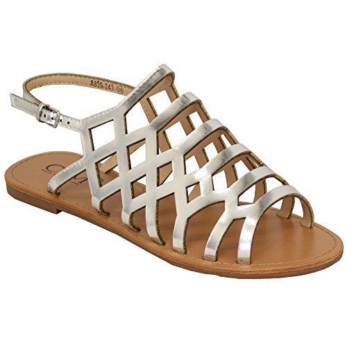 MCM Damen Gladiator Sandalen Damen Flache Open Toe Schnallenschuhe Mode Sommer Neu Silber - 8839243