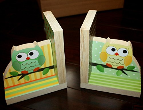 Gender Neutral Green and Yellow Owls Kids Bedroom Baby Nursery Wood Bookends BE0004