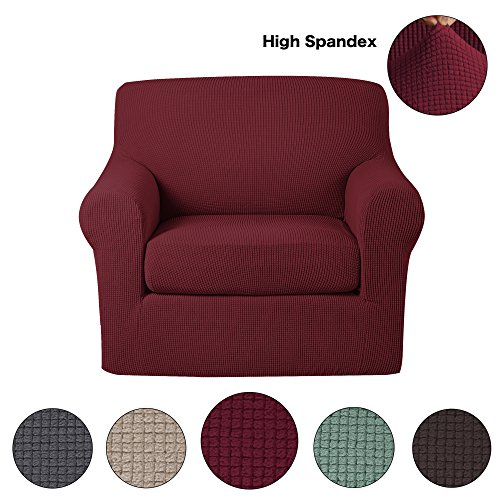 Turquoize Stretch Chair Sofa Covers 1 Seater 2-Piece Polyester Spandex Fabric Living Room Couch Slipcovers (Chair, Wine) - Polyester Furniture Cover