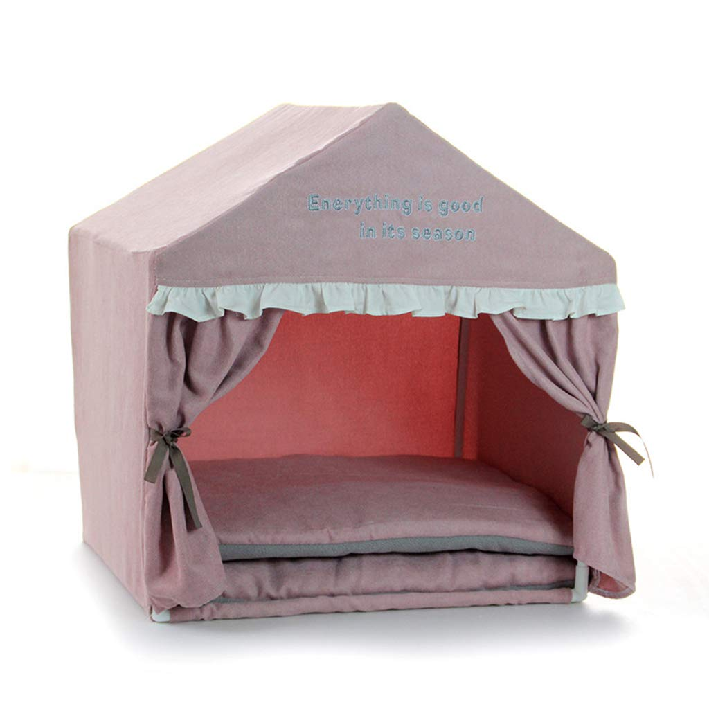 Pink Pet Tent Folding Indoor, Pet Tent House Removable and Washable, Pet Play House Quick Assembly Spacious and Comfortable, Pet Tent Bed Portable Folding,Pink