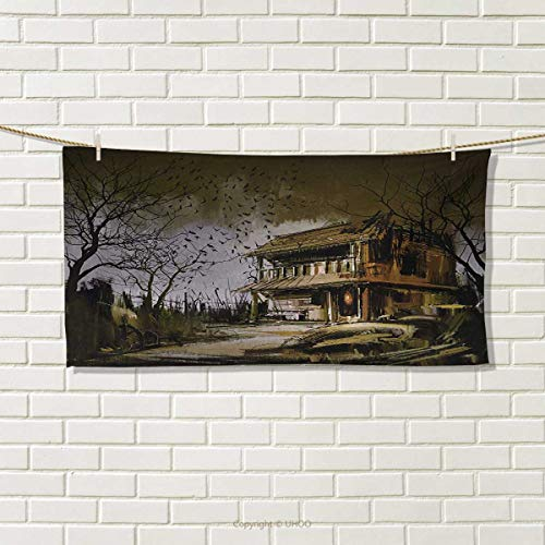 Chaneyhouse Rustic,Travel Towel,Old Haunted Abandoned Wood House at The Dark Night with Bats Scary Horror Paint,Quick-Dry Towels,Multicolor Size: W 14'' x L 27.5'' by Chaneyhouse
