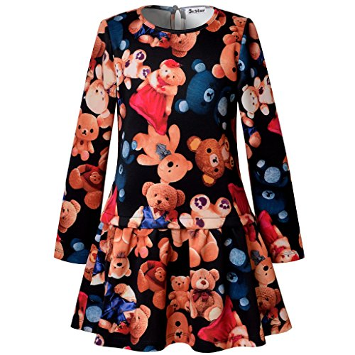 Jxstar Girl Midi Dress Pleated Dress Long Sleeve Bear Pattern Skater Dress Bear 140