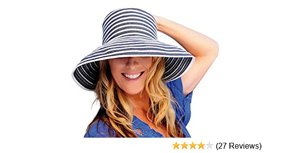 f22e2421afa Upturn Universal Ladies Sun   Beach Hat (Navy   White) at Amazon Women s  Clothing store  Sun Hat For Women