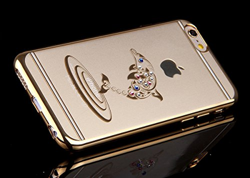 iPhone 6 Plus Hülle Transparente,NSSTAR Clear TPU Glitzer Schutzhülle für Apple iPhone 6 Plus,iPhone 6 Plus 5.5 Hülle Soft Clear Cover Bunte Strass Bling Glitzer Sparkles Painted Case Handyhülle Muste