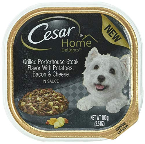 Cesar Home Delights Grilled Porterhouse Steak Potatoes, Bacon & Cheese Wet Dog Food (Pack Of 24)