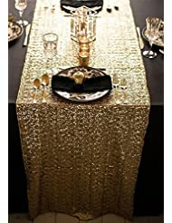 ShinyBeauty 12x72 Inch Rectangle Gold Sequin Table Runner  For  Wedding/Party/Decor (12x72 Inch)