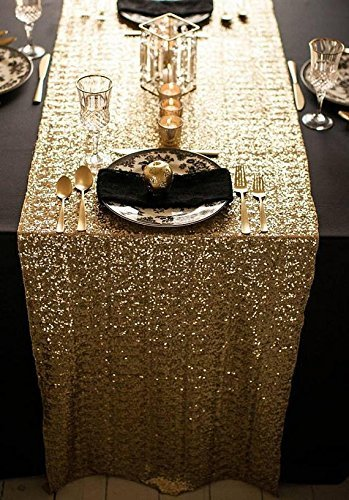 ShinyBeauty 12x72 Inch Rectangle Gold Sequin Runner Wedding product image