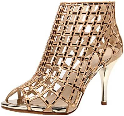 Jiandick Womens Rhinestone Ankle Bootie Prom Heeled Sandals Evening Dress Stiletto High Heel
