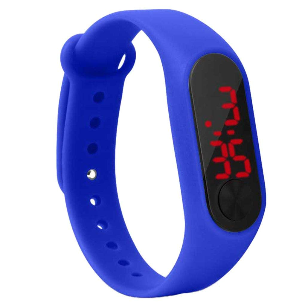 Riverlily Screen Display Children Thin Digital Wrist Watch Student Fitness Wristband Boy Girl Sports Supplies