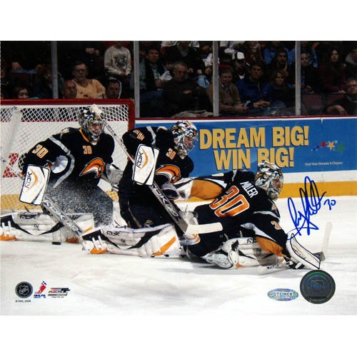 NHL Buffalo Sabres Ryan Miller Multi Exposure Signed 8x10 Photo (Nhl Signed Sabres Photo Buffalo)