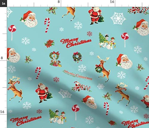 Merry Fabric Christmas (Spoonflower Merry Christmas Fabric - Kitsch Holiday Vintage Christmas Vintage Santa Claus Teal Christmas Kitch Reindeer Holiday by Twodreamsshop Printed on Basic Cotton Ultra Fabric by The Yard)