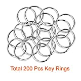 Paxcoo 200Pcs Split Key Rings Bulk for Keychain and Crafts (25mm)