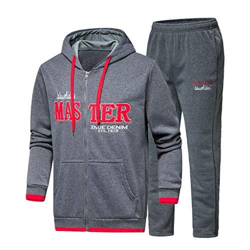 Men's Letter Print Suit Duseedik Autumn Winter Hooded Print Sweatshirt Top Pants Sets Sport Tracksuit