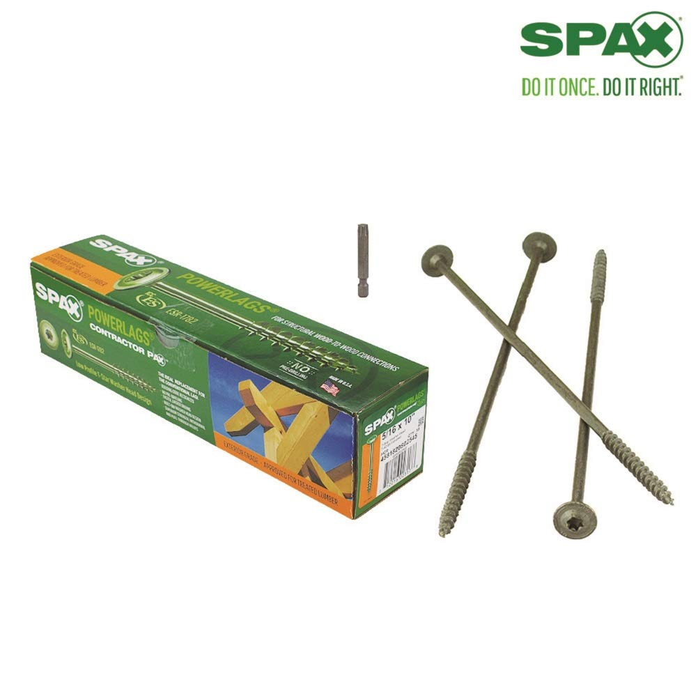 50 Pieces per Box SPAX 4581820802545 5//16 x 10 T-Star Washer Head HCR PowerLag Contractor Pax High Corrosion Resistant