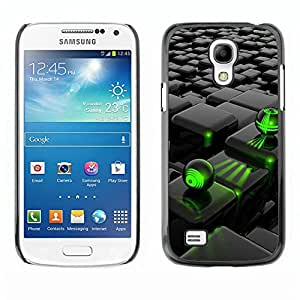 LASTONE PHONE CASE / Carcasa Funda Prima Delgada SLIM Casa Carcasa Funda Case Bandera Cover Armor Shell para Samsung Galaxy S4 Mini i9190 MINI VERSION! / Abstract Green Black