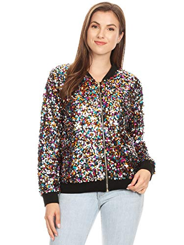 Anna-Kaci Womens Sequin Long Sleeve Front Zip Jacket with Ribbed Cuffs, Multicolor, Large -