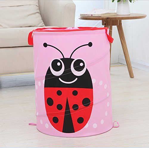 Ao blare 34x46CM Beetle Laundry Hampe Animal laundry toy bucket Children's Toys Basket Storage Bucket Folding Cylinder Laundry Basket Toy Box Organizer Storage Bag (Pink) - Cylinder Storage Bin