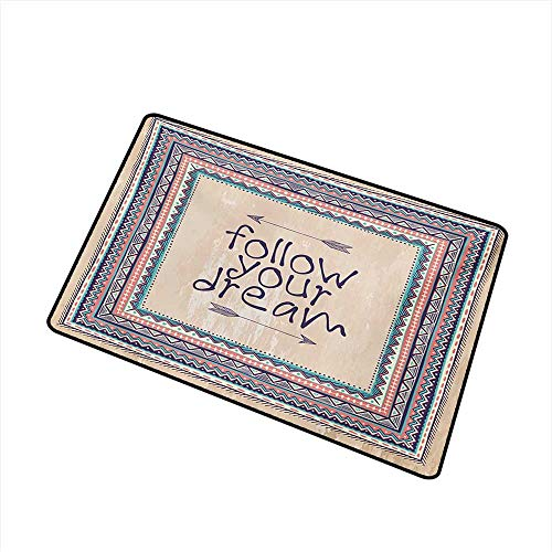 (Antibacterial Doormat Tribal Inspirational Quote Follow Your Dream and Arrows Aztec Framed Graphic Art Print W31 xL47 Non-Toxic Carpet )