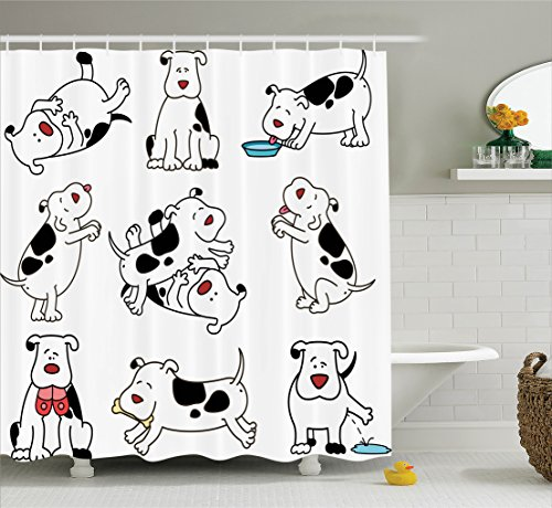 Ambesonne Dog Lover Decor Collection, Cartoon Dogs Expressions Dachshund Joy Feed Eating Happy Playing Enjoying , Polyester Fabric Bathroom Shower Curtain Set, 75 Inches Long, Black White (Dachshund Soap)