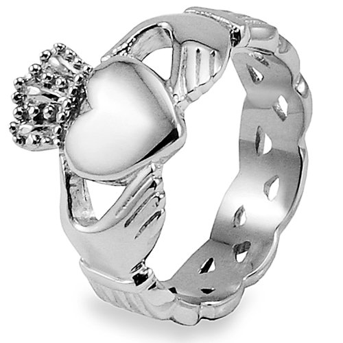 Stainless Steel Claddagh with Celtic Knot Eternity Design Ring - Size 6.0