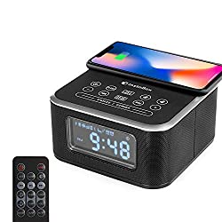 InstaBox W33 Wireless Charging Alarm Clock Radio, Work with Bluetooth, Dual Speakers, FM Radio, USB Charging Port, AUX-IN, Snooze, Battery Backup, 4 Dimmer for Bedroom, Office, Hotel, Desk