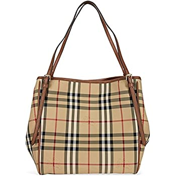 d2194ef8b76 Burberry Women's 'Small Canter' Horseferry Check Tote Bag with Equestrian  Saddle Straps Honey Tan