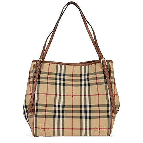 Burberry Women's 'Small Canter' Horseferry Check Tote Bag with Equestrian Saddle Straps Honey Tan Burberry Purse