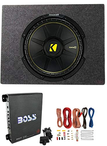 Kicker Comps 500W Subwoofer + Q Power Truck Enclosure + Boss 1100W A/B Amplifier (Best Sub Amp Combo For 500)