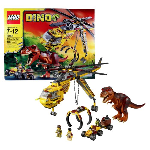 Lego Year 2012 DINO Series Set# 5886 : T-REX HUNTER with Helicopter, Scout Vehicle, T-Rex Dinosaur and 2 Hero Minigifures (Total Pieces: 480)