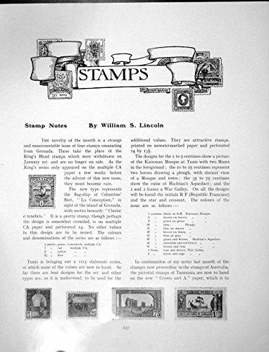 old-print Print Stamp Notes Grenada Tasmania Western Australia 1 Page 1906 237Q114