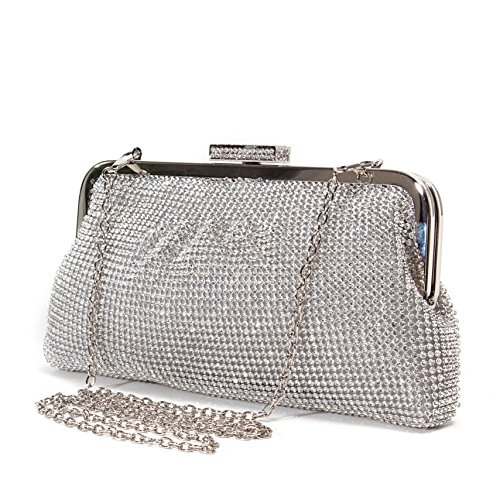 (Lady Couture Soft Rhinestone Embellished Clutch Bag, Bag 2015-7)