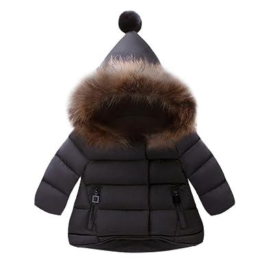 KOLY Cappotto con cappuccio per ragazze Bambini Giacche Manica Lunga  Piumino bimba Giacca bambina invernale Cappotto ba314b90d3c
