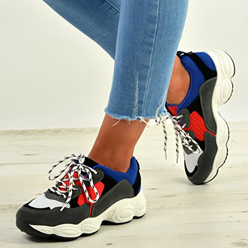 New Ginnastica Cucu Lace 3 Gym Donna Running Up 8 Taglia Womens Da Blu Scarpe Fashion Uk ztrwqr5