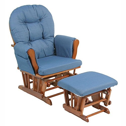 Storkcraft Bowback Glider and Ottoman Set - Cognac/Denim, Cognac