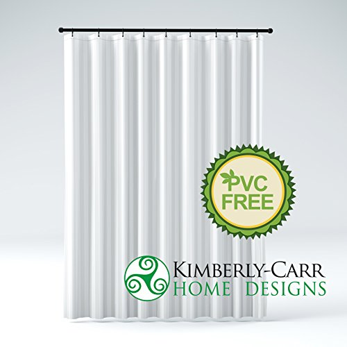 STALL Size THE SHOWER CURTAIN LINER Hotel Quality Mildew Resistant Washable Fabric, Water-Repellent, Elegant White Tonal Damask Stripe, Eco Friendly & PVC-Free (54 inches Wide by 78 inches Long) (Shower Stall Fabric Curtain Liner)