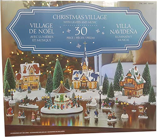 Christmas Village with Lights & Music 30 Piece Plays 8 Classic Christmas Songs (Pieces Village)