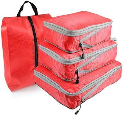 トラべラブ圧縮バッグ 旅行のためのパッキングキューブ4パック防水旅行収納袋 トラベルポーチ 出張 旅行 便利グッズ (Color : Red, Size : Free size)