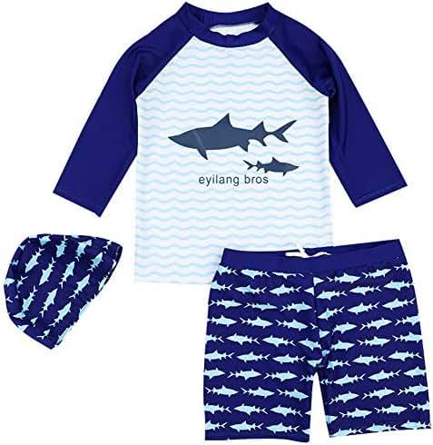 Boys Two Piece Rash Guard Swimsuits Kids Long Sleeve UV Sun Protection Sunsuit Swimwear Sets