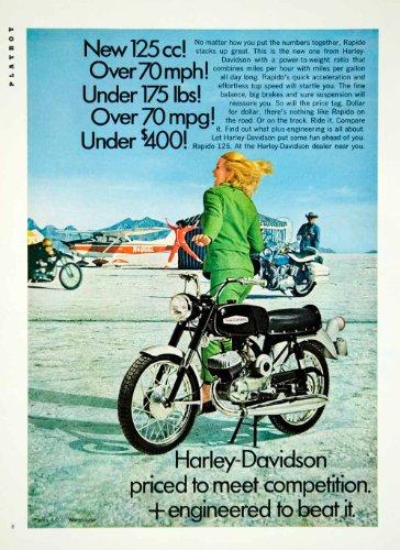 1968 Ad Harley Davidson 125cc Rapido Motorcycle Motorcycling Black Motorbike - Original Print Ad